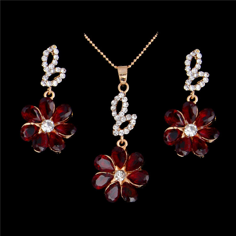 Flower Red Crystal Gold Necklace Earrings Set
