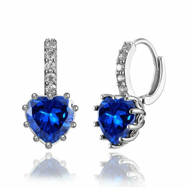Blue Zircon Heart Shaped Silver Tone Earrings