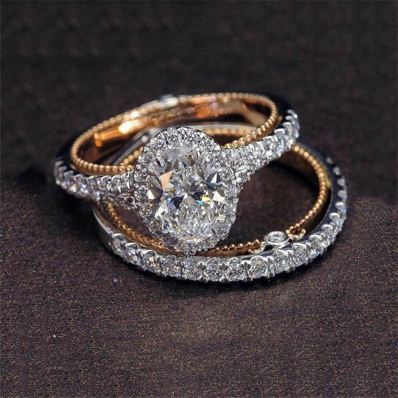 Oval Cut Simulated Diamond 2 Piece Wedding Ring Set Size 10
