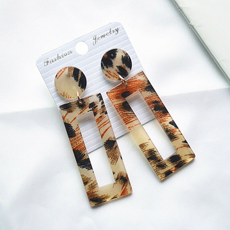 Rectangle Animal Print Acrylic Earrings