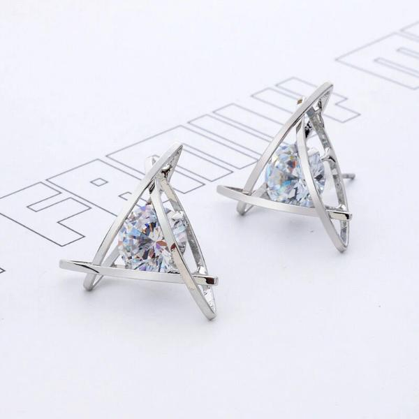Triangle Floating Crystal Silver Tone Earrings