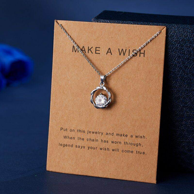 'Make A Wish' Round Zircon Silver Necklace