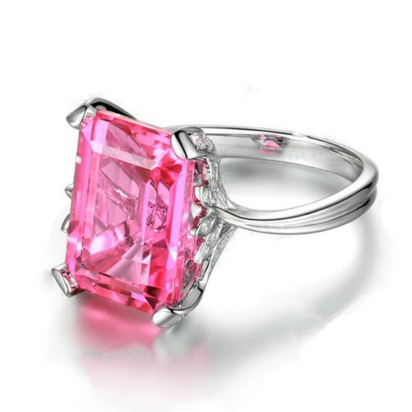 Pink Faux Gemstone Silver Ring Size 7