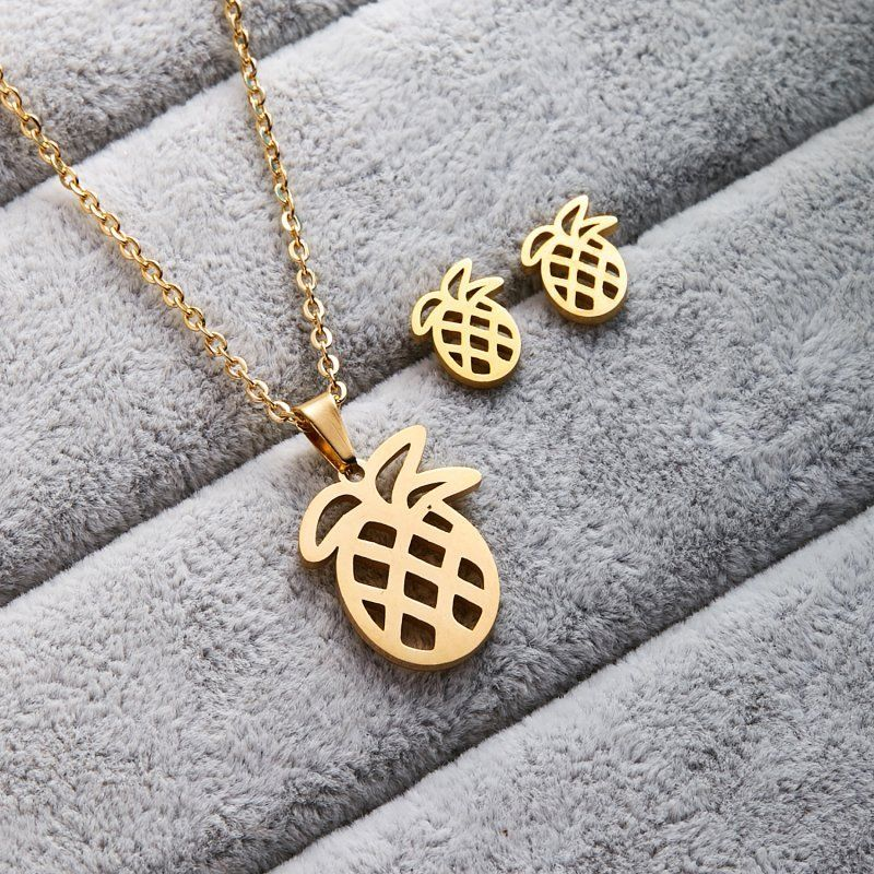 Pineapple Gold Tone Necklace & Earrings Set
