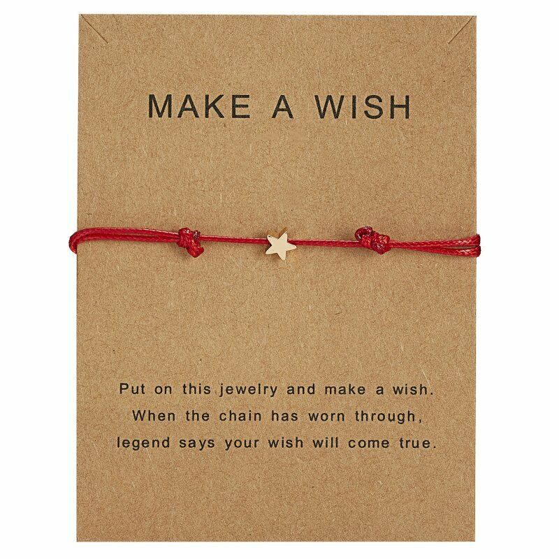 """Make A Wish"" Note Card Red String Gold Star Bracelet"
