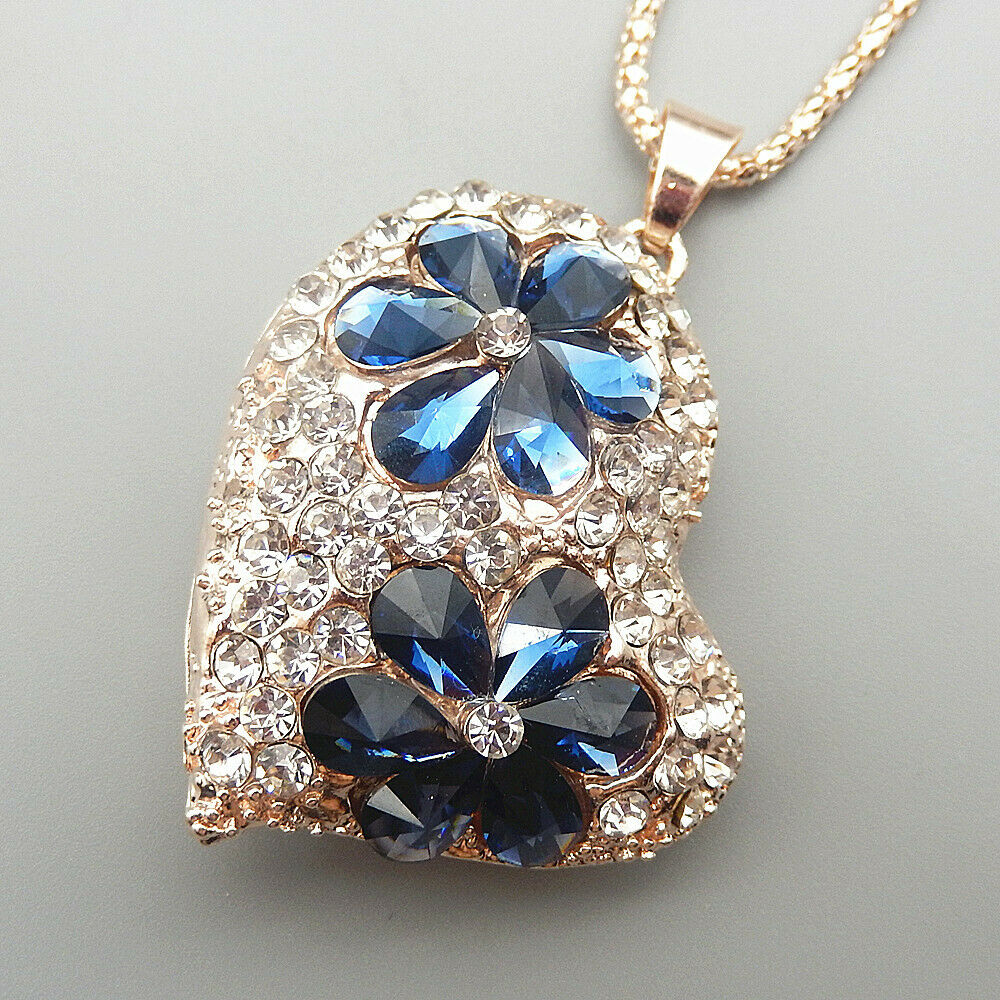 Betsy Johnson Blue Flower Inlay Crystal Heart Necklace