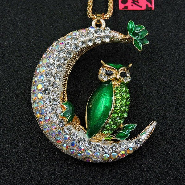 Betsey Johnson Green Owl Crystal Half Moon Gold Necklace