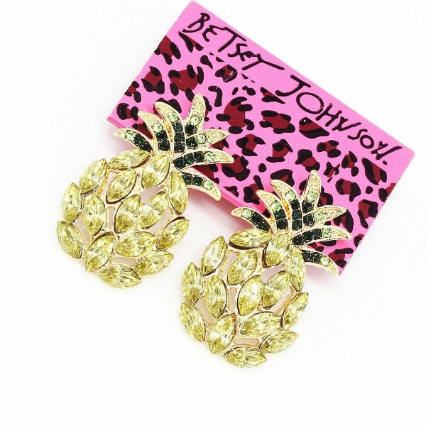 Betsey Johnson Yellow Crystal Pineapple Stud Earrings