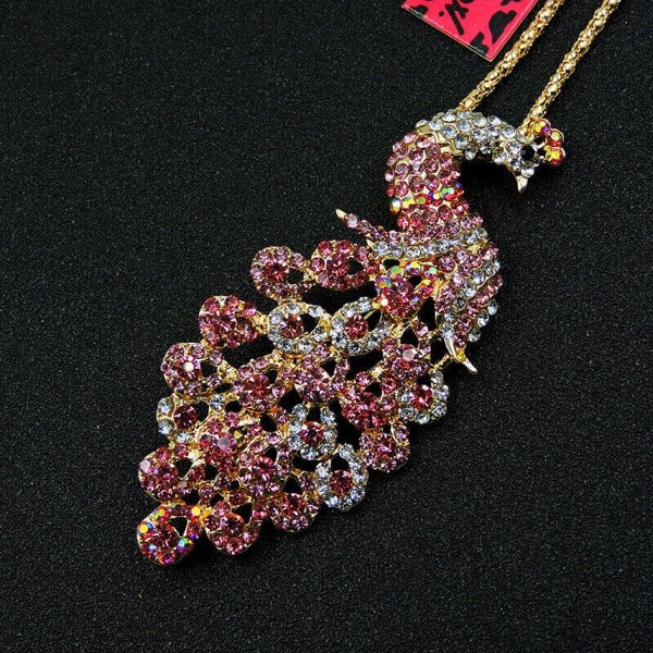 Betsey Johnson Small Peacock Pink Rhinestone Gold Pendant Necklace