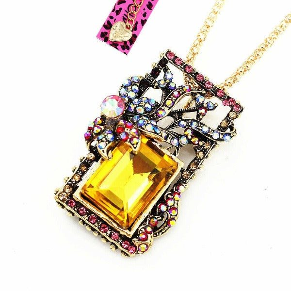 Betsey Johnson Yellow Multi-Color Crystal Brooch or Necklace