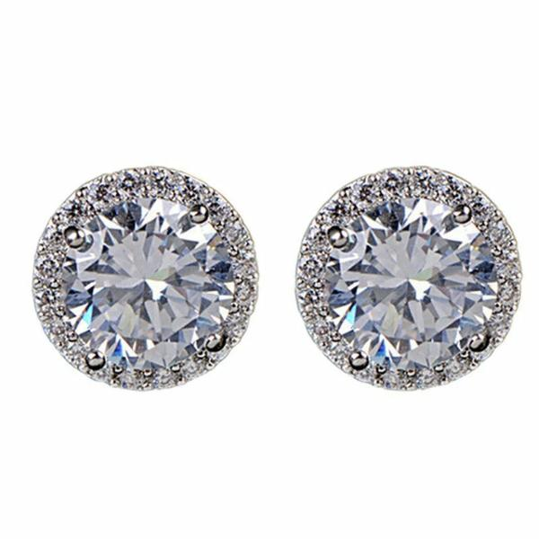 Round Halo White Zircon Silver Plated Stud Earrings