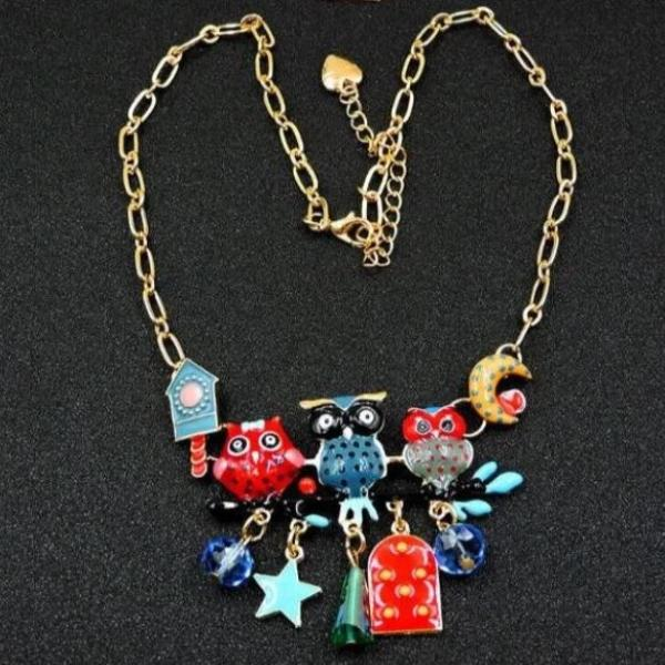 Betsey Johnson Owl Multi-Color Enamel Gold Necklace