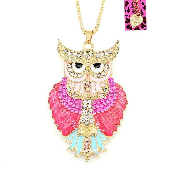 Betsey Johnson Owl Pink Enamel Crystal Eyes Gold Necklace