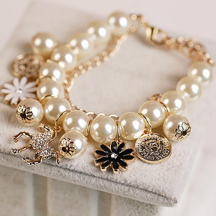 Pearl (Faux) Horse & Flower Charms Gold Bracelet