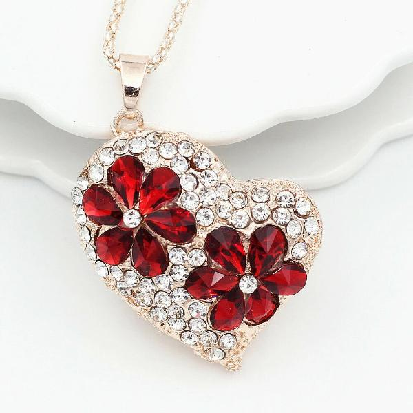 Betsy Johnson Red Flower Inlay Crystal Heart Necklace