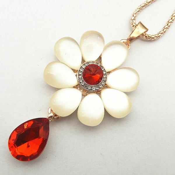 Betsey Johnson Flower Red Crystal Pendant Necklace