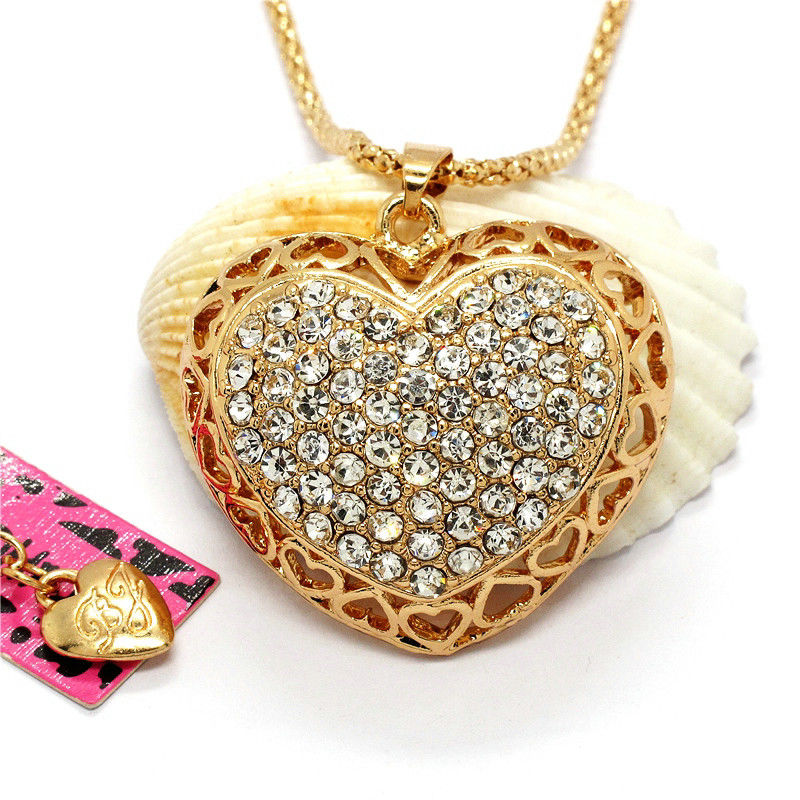 Betsey Johnson Heart White Crystals Gold Pendant Necklace