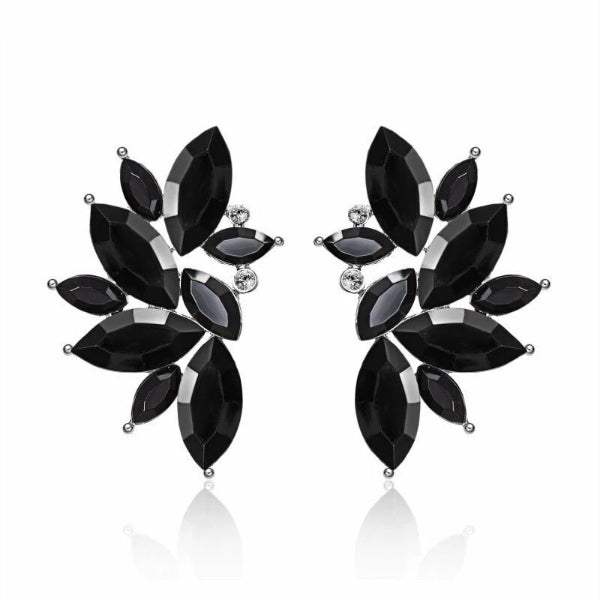 Black Wing Angel Crystal Earrings