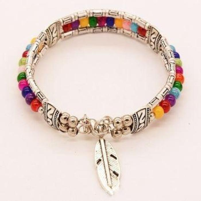 Multi Color Bead Bohemian Feather Silver Small Bracelet
