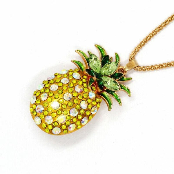Betsey Johnson Pineapple Yellow & Green Crystal Gold Necklace