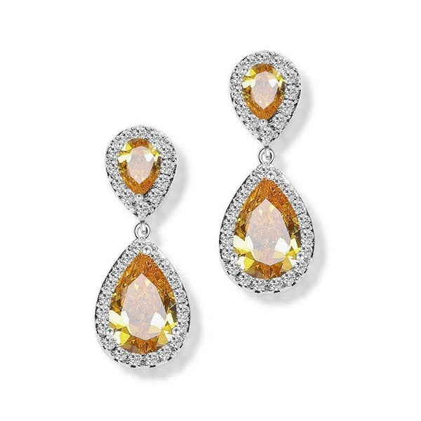 Yellow & White Crystal Rhinestone Silver Dangle Earrings
