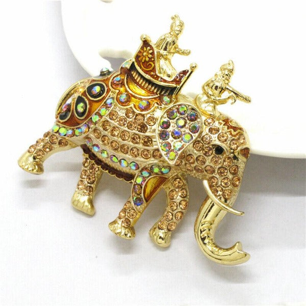 Betsey Johnson Elephant Multi-Color Crystal Gold Brooch Pin