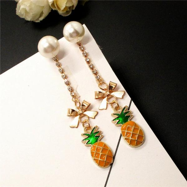 Betsey Johnson Pineapple Faux Pearl Rhinestone Earrings