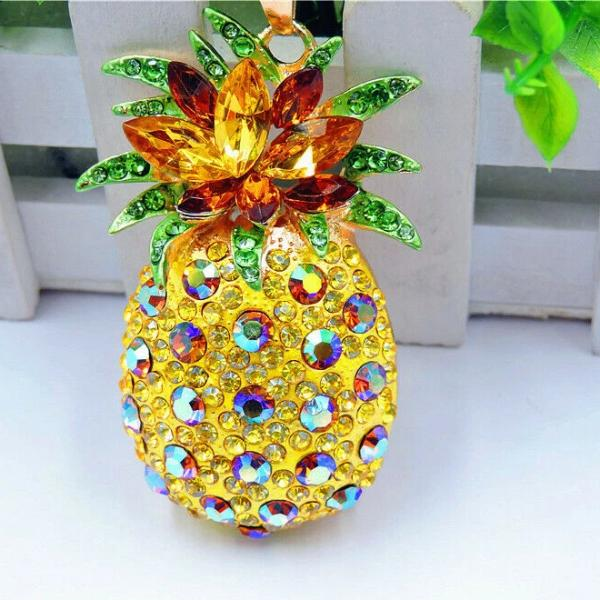 Betsey Johnson Pineapple Yellow Crystal Brooch Pendant Necklace