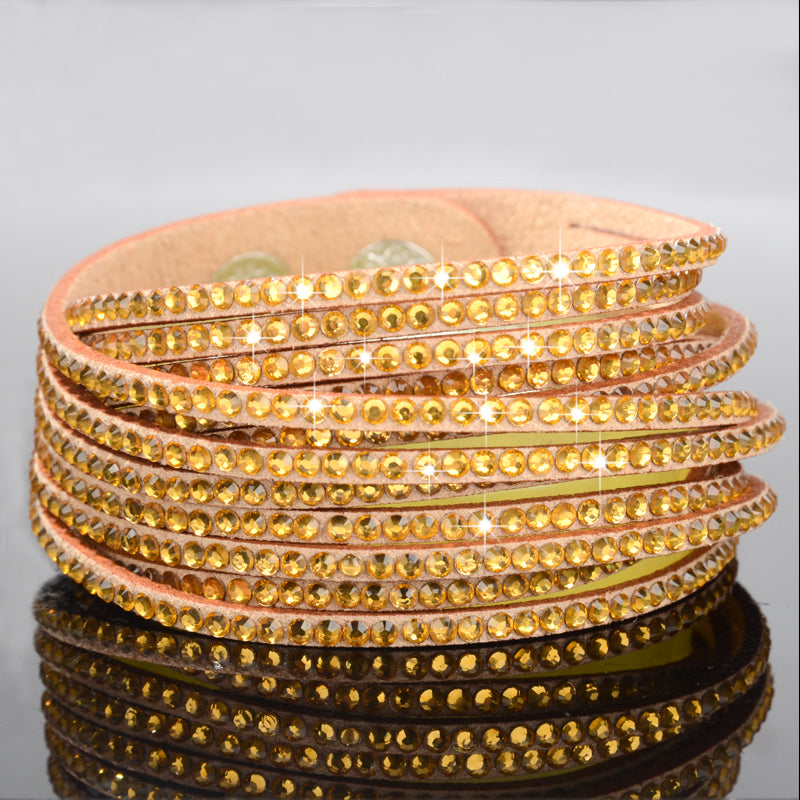 Gold Sparkly Rhinestone Double Wrap Suede Bracelet