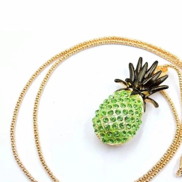 Betsey Johnson Green & Black Pineapple Gold Necklace