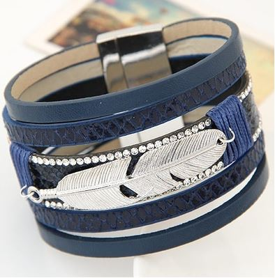 Blue Faux Leather & Silver Alloy Feather Charm Wide Magnetic Bracelet