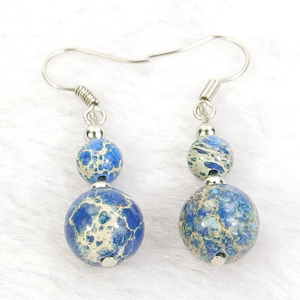 Blue Sea Sediment Jasper Natural Gemstone Beads Silver Plated Dangle Earrings
