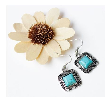 Square Turquoise Tibetan Silver Ornate Necklace & Earrings Set