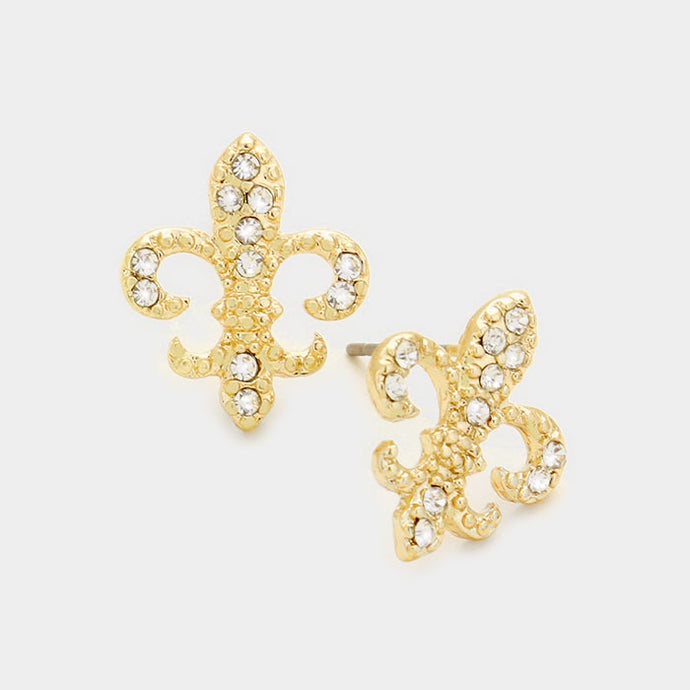 Crystal Fleur de Lis Gold Stud Earrings