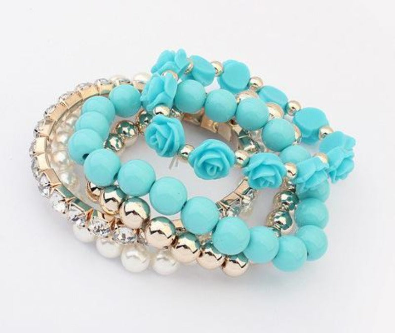 Turquoise Blue Gold White Multi-layer Flowers Rhinestone 5 Piece Set of Bracelets