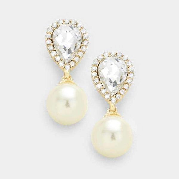 Ivory Pearl & Crystal Teardrop Evening Earrings