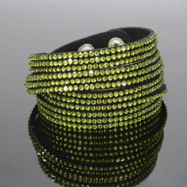 Green Sparkly Rhinestone Double Wrap Suede Bracelet