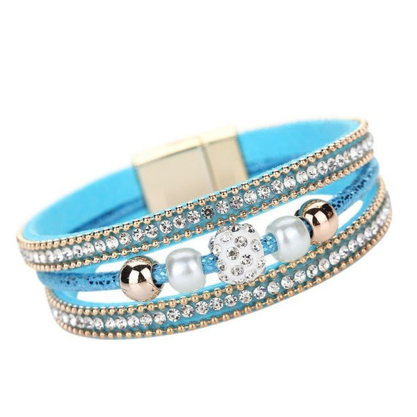 Blue Crystal Faux Pearl Rhinestone Beaded Leather Magnetic Bracelet