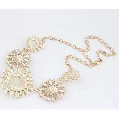 Crystal 5 Flower Pink Teal Ivory Gold Tone Statement Necklace
