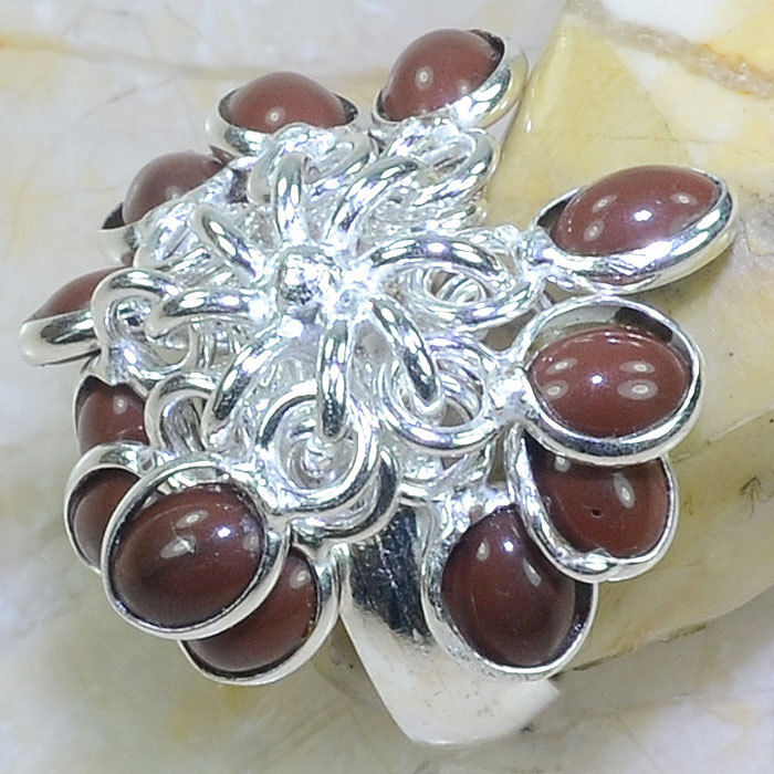 RED AGATE HANDMADE .925 SILVER PLATED DANGLE RING SIZE 8 1/4
