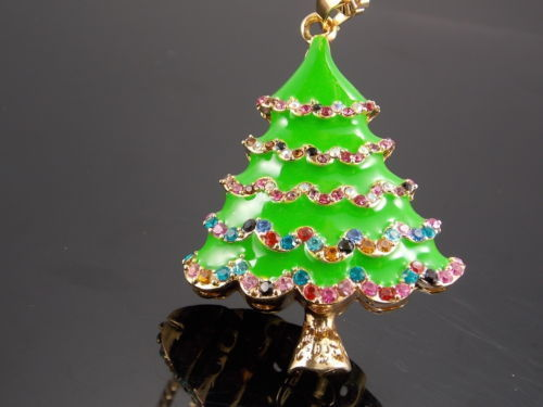 Betsey Johnson Christmas Tree Multi-Color Crystal Pendant Necklace