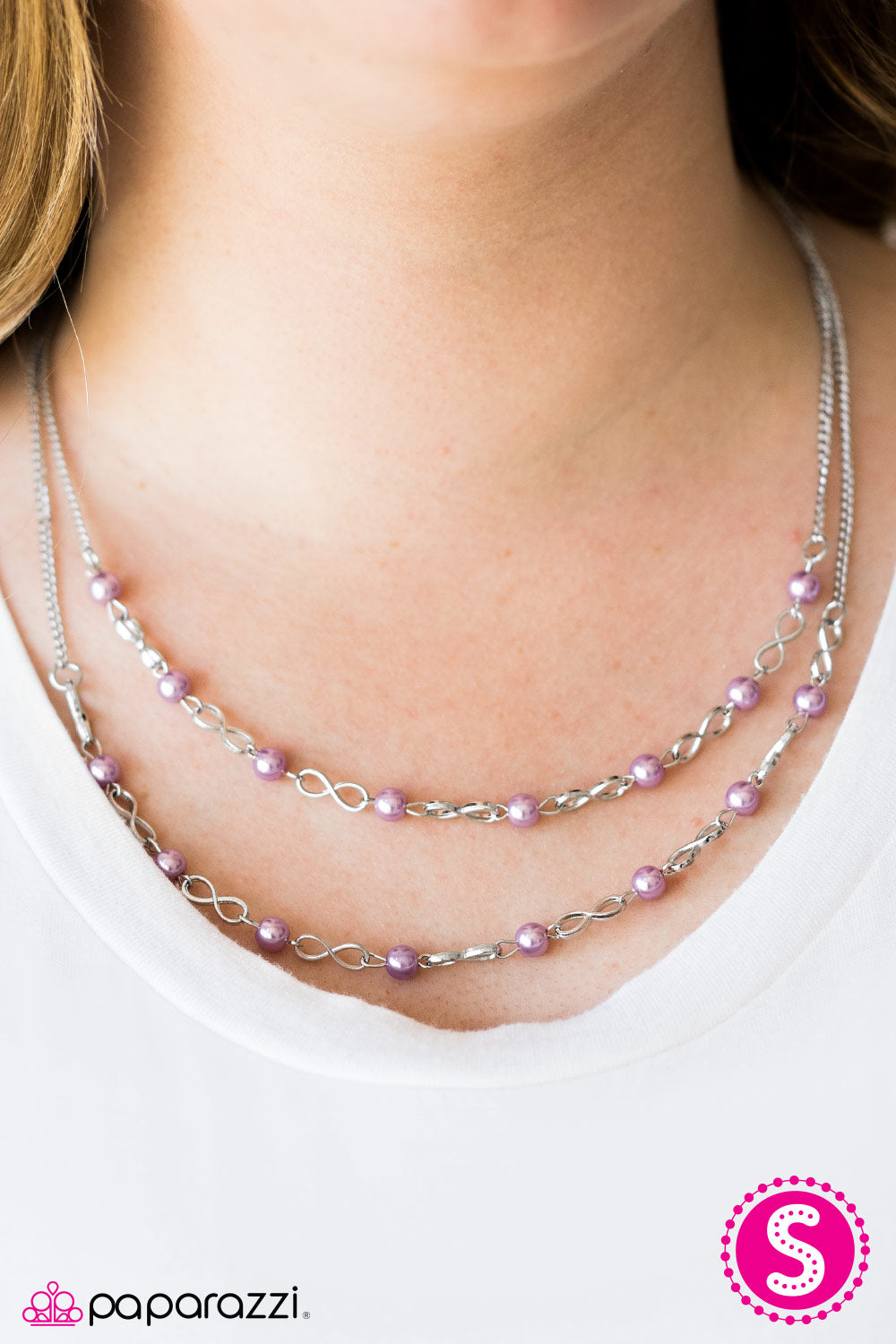 """Fairytale Forevers"" Silver & Purple Bead Necklace & Earring Set"