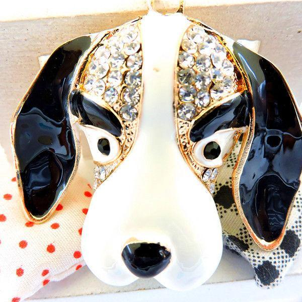 Betsey Johnson Crystal Enamel Black & White Dog Pendant Necklace