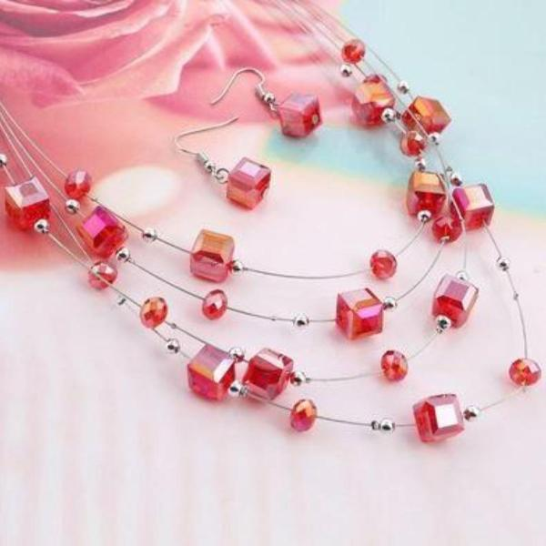 Red Acrylic Multi-Layer Square Earring & Necklace Set
