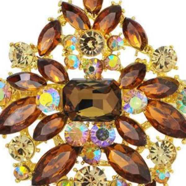 Champagne Brown Crystal Bouquet Flowers Rhinestone Brooch Pin