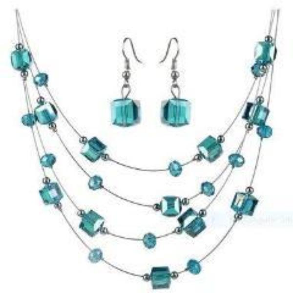 Sky Blue Acrylic Multi-Layer Square Earring & Necklace Set