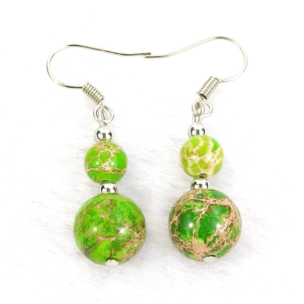 Lime Green Sea Sediment Jasper Natural Gemstone Beads Silver Plated Dangle Earrings