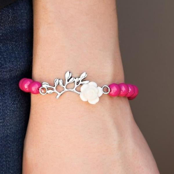 """Garden Grotto"" Silver Polished Pink Beads Flower Bracelet"