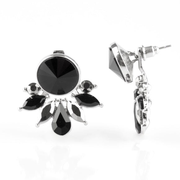 """Radically Royal - Black"" Rhinestone Pierced Earrings"