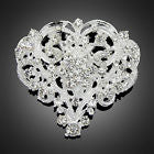 Beautiful Heart Shaped Rhinestone Silver Tone Brooch Pin